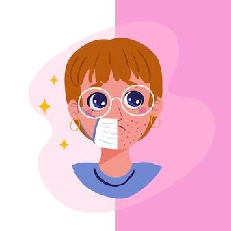 Ilustracja włączania i wyłączania maski na twarz