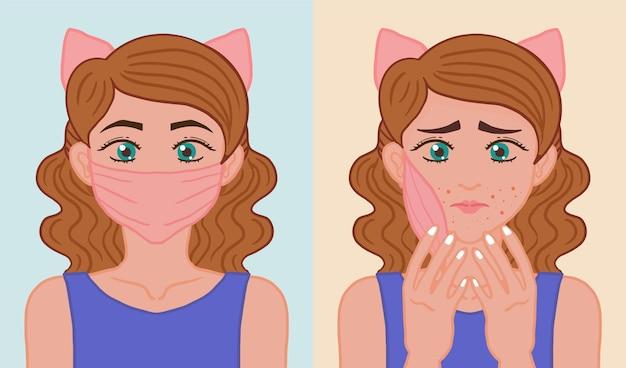 Ilustracja włączania i wyłączania maski