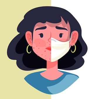 Ilustracja włączania / wyłączania maski na twarz