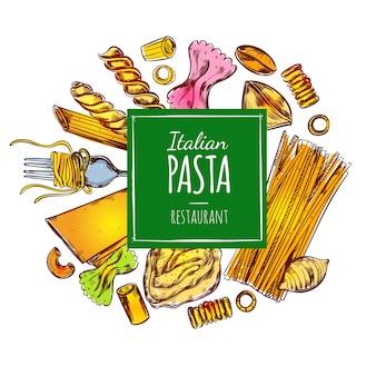 Ilustracja włoskiej restauracji makaron