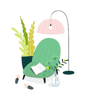 Ilustracja wnętrz domu. przytulny salon domowy, miejsce do czytania i nauki z fotelem lub sofą, abażurem, kapciami i roślinami domowymi.