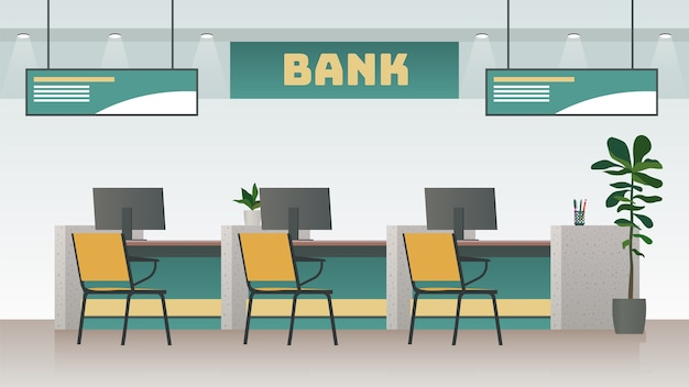 Ilustracja wnętrza biura banku