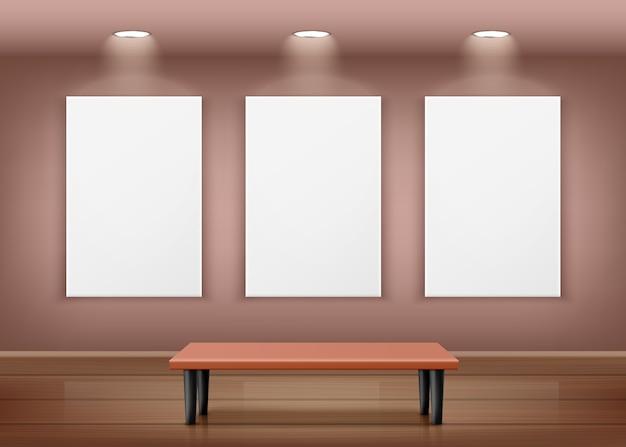 Ilustracja wnętrza galerii z trzema pustymi ramkami na ścianie