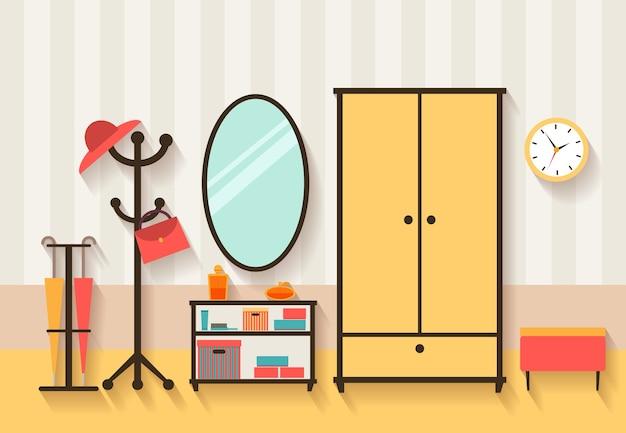 Ilustracja wnętrza hali. meble i lustro, wieszak na ubrania i mieszkanie