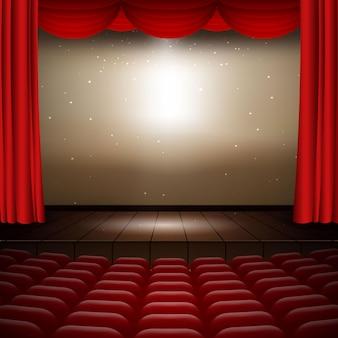 Ilustracja wnętrza kina z czerwonymi zasłonami, rzędami siedzeń, drewnianą sceną