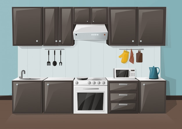 Ilustracja wnętrza kuchni. pokój z lodówką, piekarnikiem, kuchenką mikrofalową, zlewem i czajnikiem.