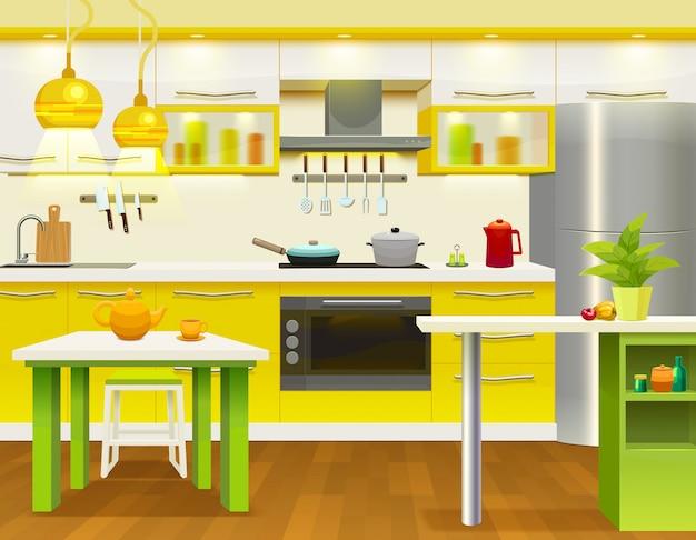 Ilustracja wnętrza nowoczesnej kuchni