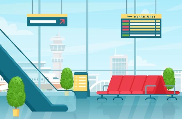 Ilustracja wnętrza pierwszego piętra lotniska nowoczesna hala terminala z odlotami krzeseł