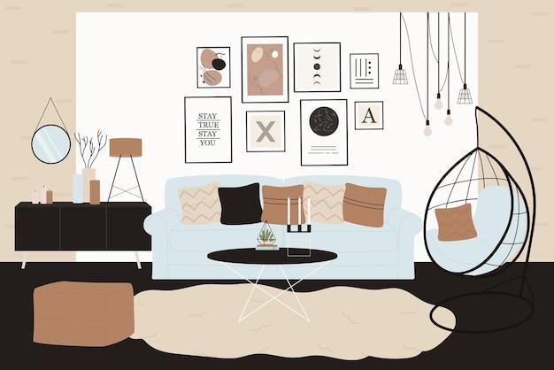 Ilustracja wnętrza pokoju skandynawskiego.