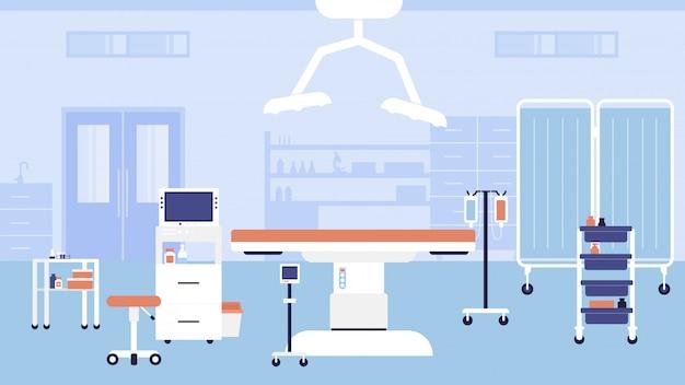 Ilustracja wnętrza sali szpitalnej. kreskówka puste miejsce pracy gabinetu lekarskiego na wizytę lub konsultację lekarzy, nowoczesne meble medyczne kliniki, sprzęt, tło łóżka i stołu