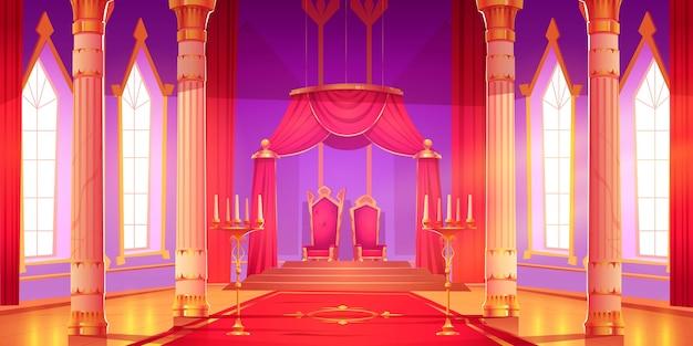 Ilustracja wnętrza sali zamku z kreskówek