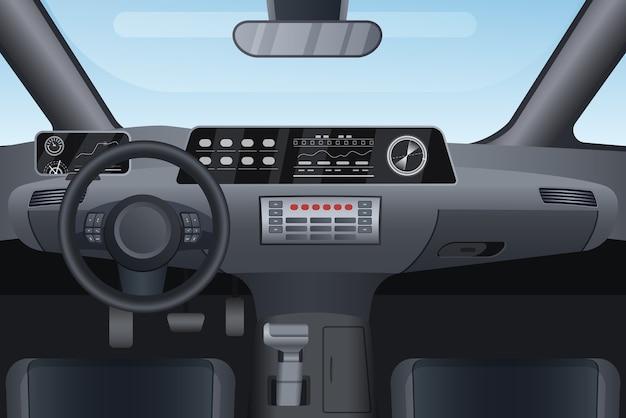 Ilustracja wnętrza samochodu auto salon.