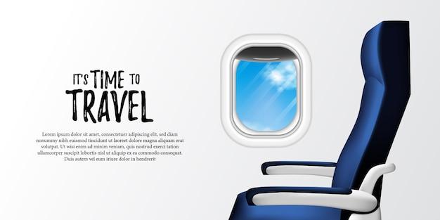 Ilustracja wnętrza samolotu płaszczyzny z siedzeniem i iluminatorem z widokiem na błękitne niebo