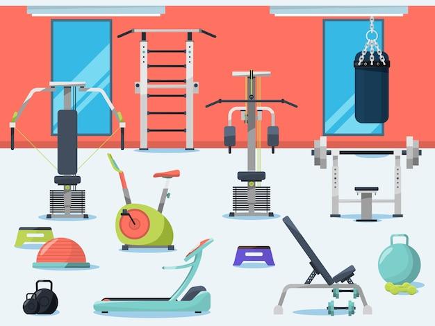 Ilustracja wnętrza siłowni z różnych urządzeń sportowych