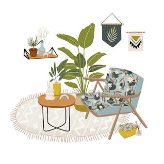 Ilustracja wnętrza z fotelem i rośliną