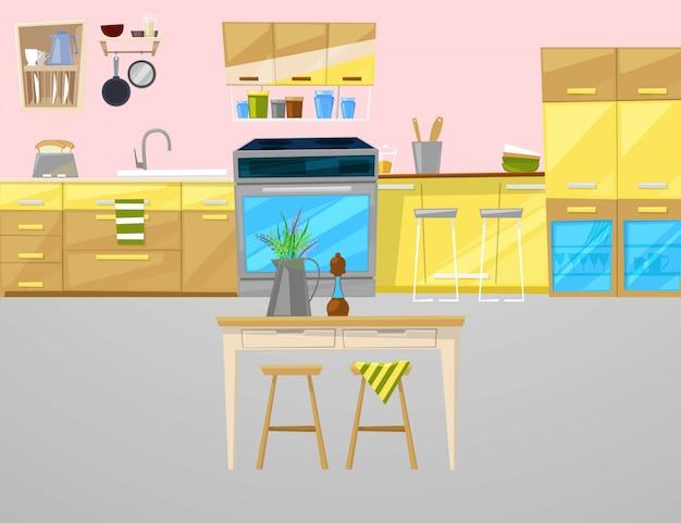 Ilustracja wnętrze kuchni z meblami, naczyniami, jedzeniem i urządzeniami.