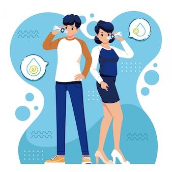Ilustracja wody pitnej młodych ludzi
