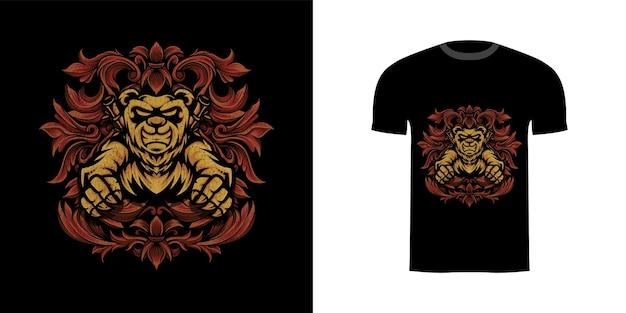 Ilustracja wojownik panda z ornamentem grawerującym do projektu koszulki