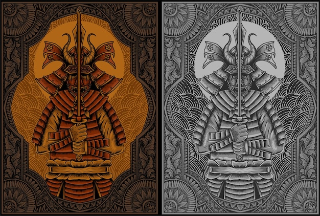 Ilustracja wojowników samurajów z antycznym ornamentem grawerującym