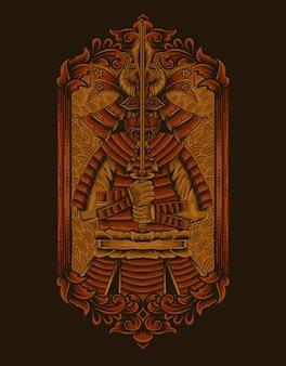 Ilustracja wojowników samurajów z ornamentem vintage grawerowania