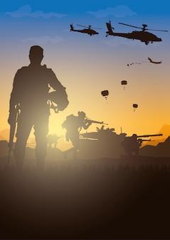 Ilustracja wojskowa, tło armii, sylwetki żołnierzy.