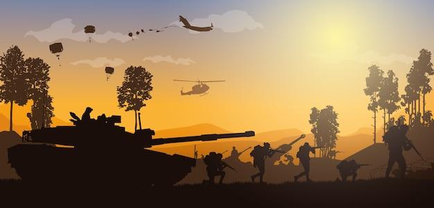 Ilustracja wojskowa, tło armii.