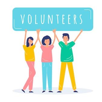 Ilustracja wolontariuszy ludzi