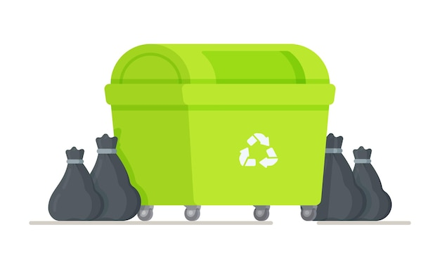 Ilustracja worków na śmieci stojących przy koszu na śmieci. zielony kosz na śmieci do recyklingu.