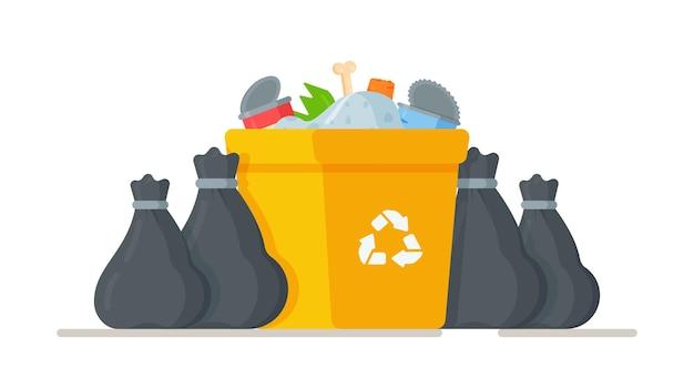 Ilustracja worków na śmieci stojących przy koszu na śmieci.