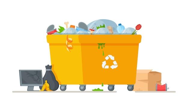 Ilustracja worków na śmieci w pobliżu żółtego kosza na śmieci.