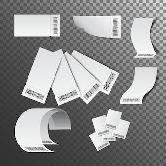 Ilustracja wpływy gotówkowe. czek papierowy i czek finansowy na białym tle.