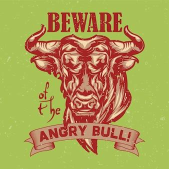 Ilustracja wściekłego byka