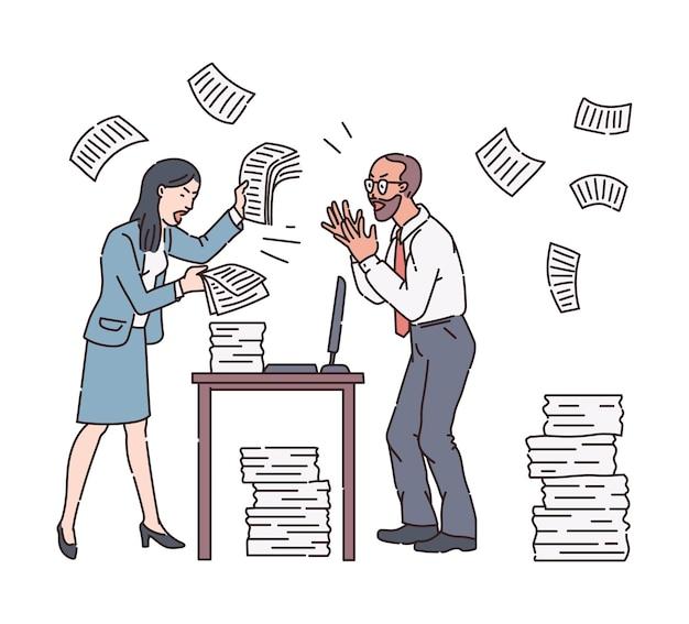 Ilustracja wściekłej kobiety szefa i pracownika w biurowym chaosie