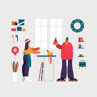 Ilustracja współczesnego mężczyzny wybierając perfumy i myśląc w pobliżu sprzedającego kobietę, kupując obecny w sklepie podczas świątecznej wyprzedaży