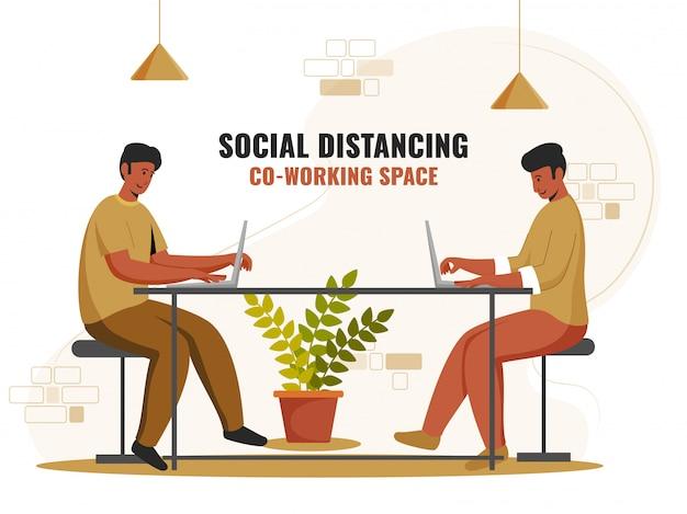 Ilustracja współpracujących mężczyzn korzystających z laptopa w miejscu pracy z zachowaniem dystansu społecznego, aby zapobiec koronawirusowi.