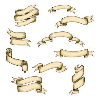 Ilustracja wstążka rocznika. ręcznie rysowane na białym tle projekt wakacje