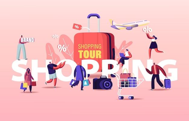 Ilustracja wycieczka na zakupy. sezonowa wyprzedaż postaci kupujących.