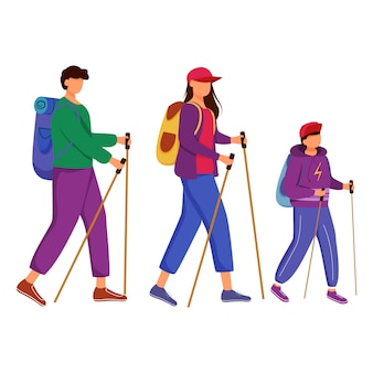Ilustracja wycieczka piesza rodzina.