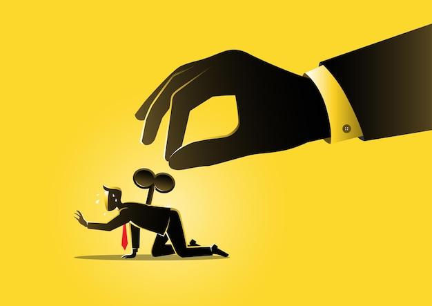 Ilustracja wyczerpanej koncepcji, biznesmen z gigantyczną nawijarką na plecach