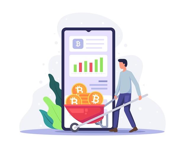 Ilustracja wydobywania waluty kryptograficznej bitcoin i technologia łańcucha bloków