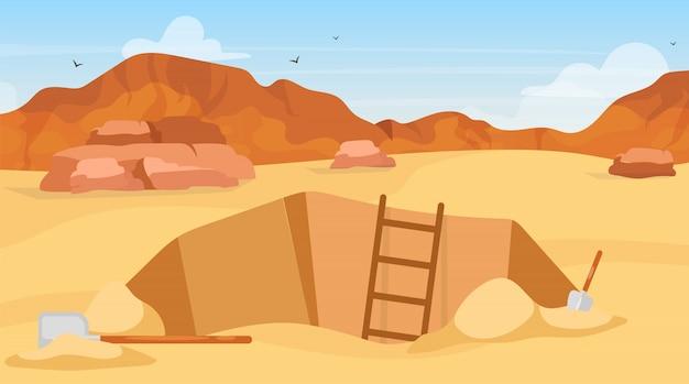 Ilustracja wykopu. stanowisko archeologiczne, szukaj artefaktów. kopanie łopatami. eksploracja egipskiej pustyni. górnik w afryce. tło kreskówka wyprawy