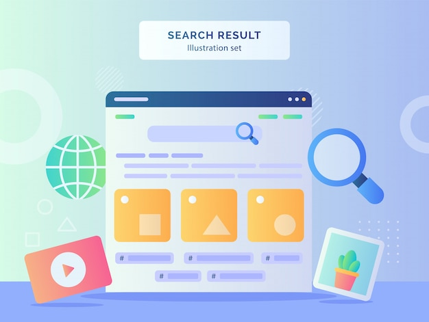 Ilustracja Wyników Wyszukiwania Ustawia Interfejs Użytkownika W Komputerze Monitora Obrazu Wideo Glob Lupe Z Płaskim Stylem Premium Wektorów