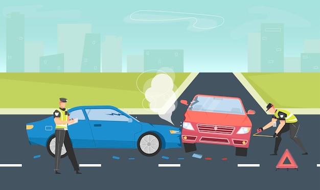 Ilustracja Wypadku Samochodowego Premium Wektorów
