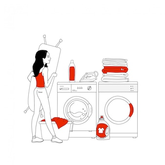 Ilustracja wyposażenia wnętrz pralni z pralką, artykułami gospodarstwa domowego, kupą ubrań, żelazkiem. gospodyni w pralni. styl linii.