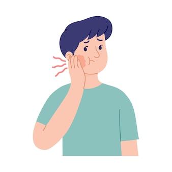 Ilustracja wypowiedzi młodego mężczyzny z opuchniętymi policzkami z powodu bólu zęba