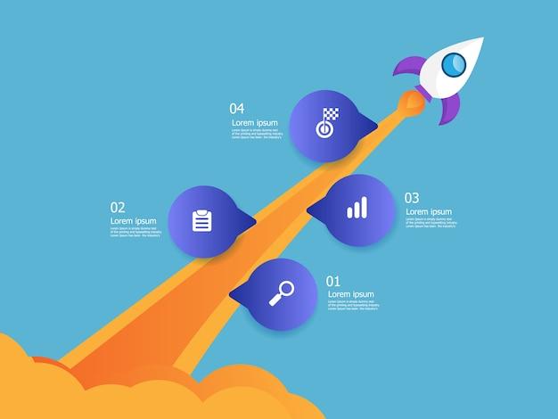 Ilustracja wyrzutni rakiet biznesowych start pionowej osi czasu infografiki 4 kroki tło wektor