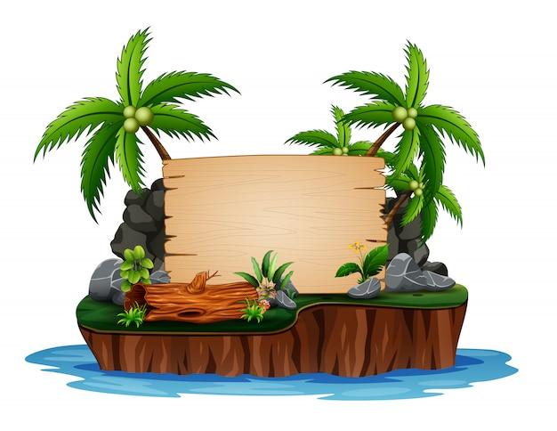 Ilustracja wyspa kokosowa i drewniana deska