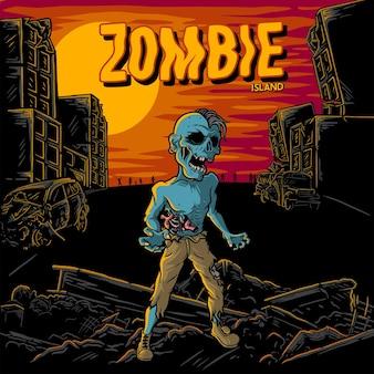 Ilustracja wyspa zombie