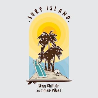 Ilustracja wyspy surfingu