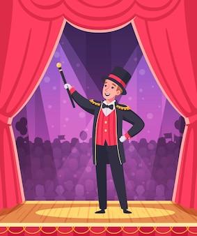 Ilustracja występu cyrkowego z kreskówką pokazową magika
